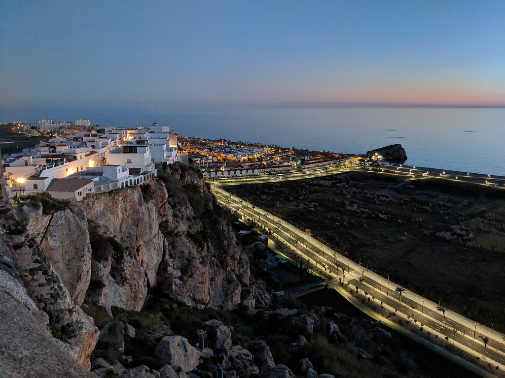A night view from the castle over the town of Salobrena and the coast
