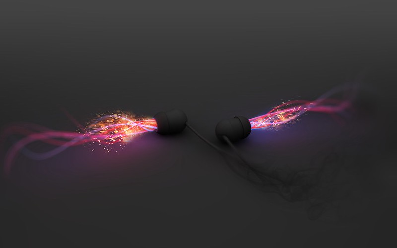 Обои наушники, свет, неон, поверхность, музыка картинки на рабочий стол, фото скачать бесплатно