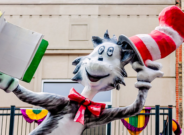 Mardi Gras floral parade Cat in the Hat float in Mobile Alabama