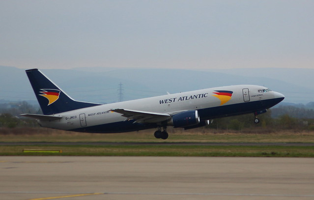 West Atlantic UK G-JMCO Boeing 737-3TO(SF) flight NPT900T Crew Training at Durham Tees Valley Airport MME England UK