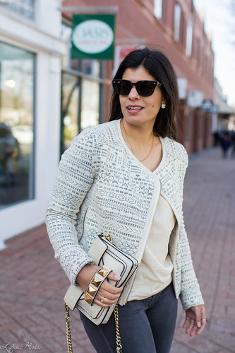 printed jacket, cream blouse, grey jeans, studded bag-5.jpg | by LyddieGal