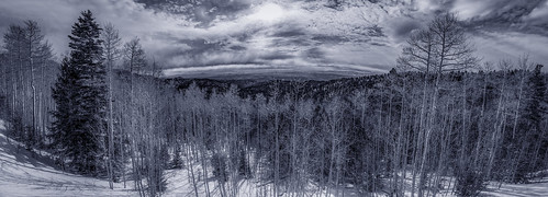 thelookout santafenationalforestscenicbyway santafenationalforest scenicbyway overlook santafe newmexico nm panorama pano aspens evergreens snow national outside nature blue sliderssunday hss