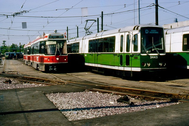 MBTA LRVs 4031 and 3443 At Riverside