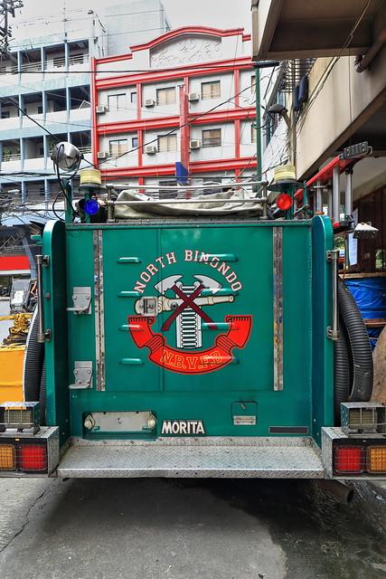 Green fire engine-truck of the N.Binondo Fire Prevention Association. Chinatown-Manila-Philippines-1006