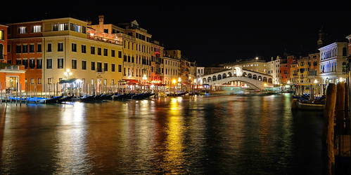 Venice Rialto bridge and canals by night
