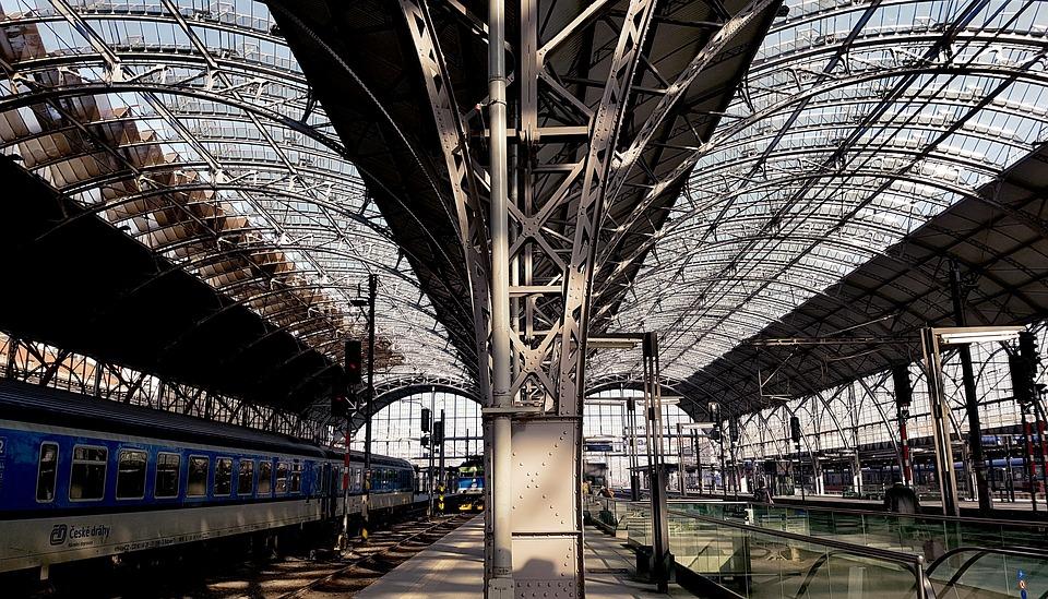 Train Prague Steel Station Building