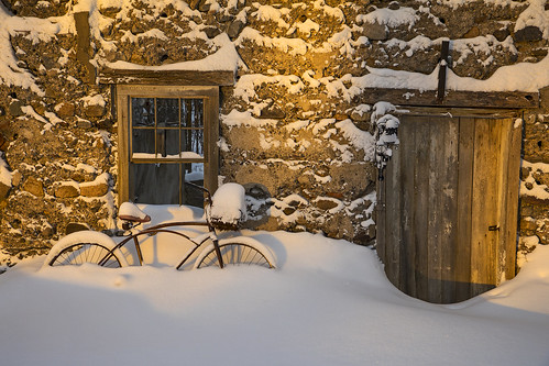 tuesday sunrise warmth sun dawn snow snowstorm home skaneateles canon 2019 frogpond life nature outdoors barn old bike snowy winter stone