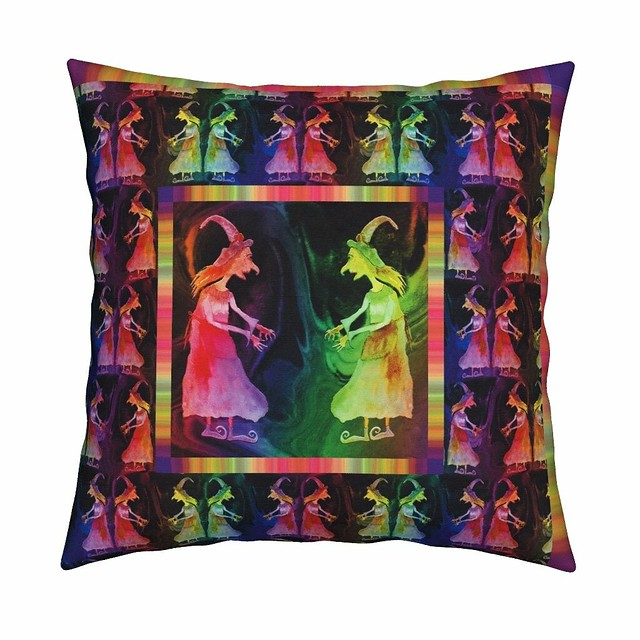 LARGE FRAMED GRISELDA WITCH RAINBOW pillow by Paysmage
