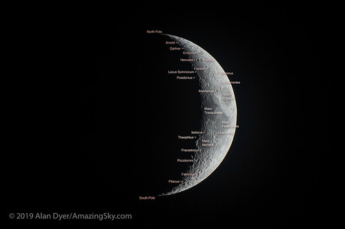 The Five Day Old Moon with Labels | by Amazing Sky Photography