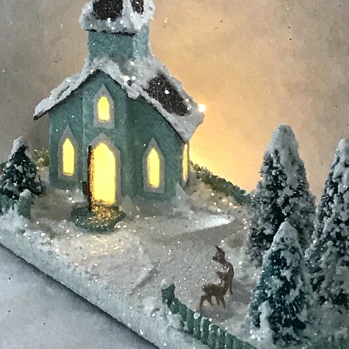 Tiny Mini Light Teal and Brown Church