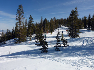 Alpine skiers on the slopes at Mt Rose Ski Area, adjacent to Mt Rose campground. | by simonov