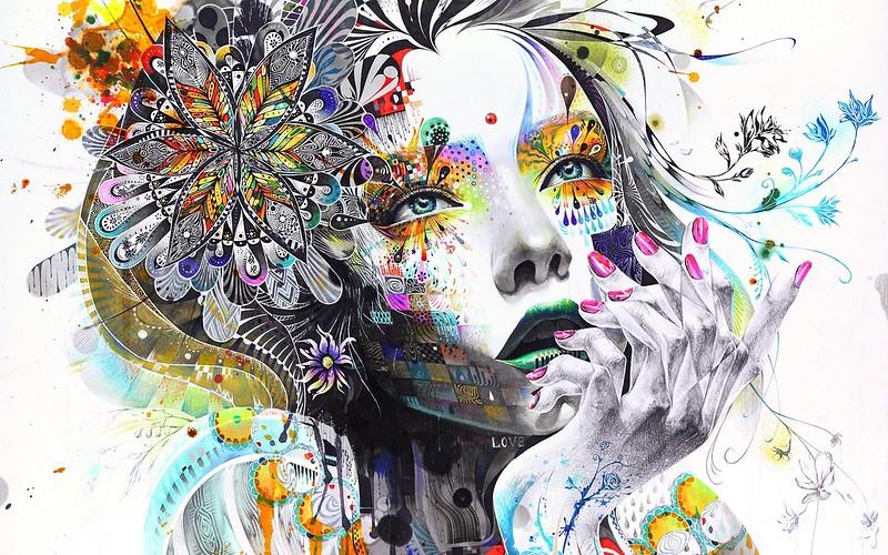 Обои абстракция, картина, девушка, краски, цветы, рука, задумчивая, рендеринг картинки на рабочий стол, фото скачать бесплатно