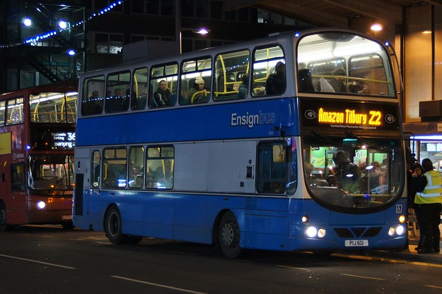 Night Work: Ensignbus (ex Arriva London VLW99) Volvo B7TL/Wright Eclipse Gemini PIJ601 (formerly LG52DDA) Barking Station 22/12/18