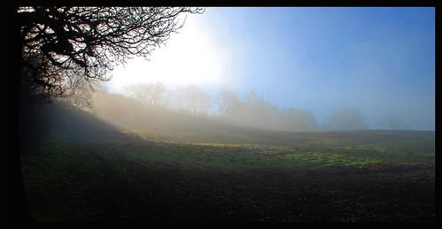 sunrise mist morning field countryside chosenhill gloucestershire