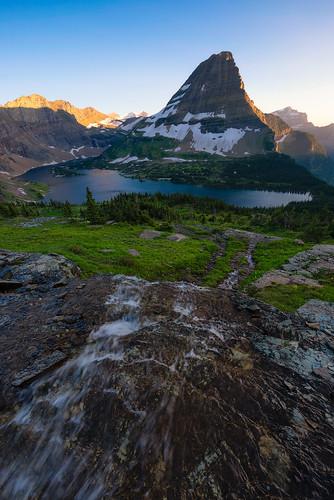 glacier national park bearhat mountain hidden lake nikon stream montana landscape alpine sunset logan pass