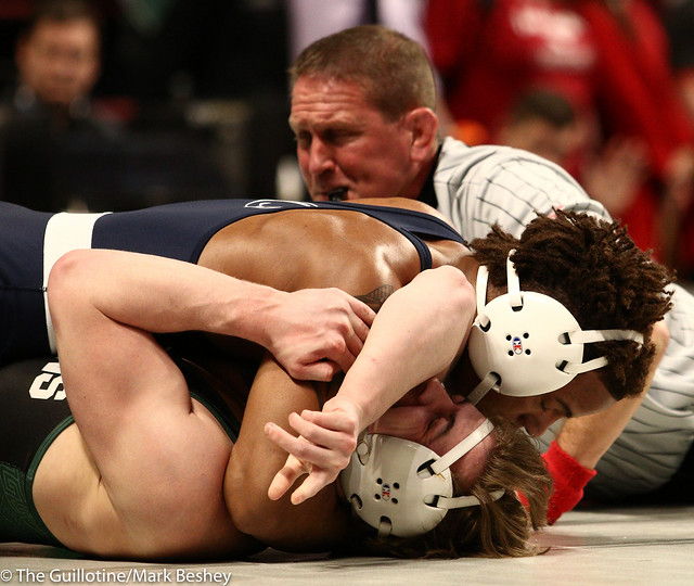 Quarterfinal - Mark Hall (Penn State) 24-0 won by fall over Drew Hughes (Michigan State) 24-12 (Fall 2:39) - 1903amk0314