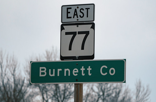 burnettco burnettcounty highway77 wi77 wisconsin wisconsin77 countyline sign signage winter