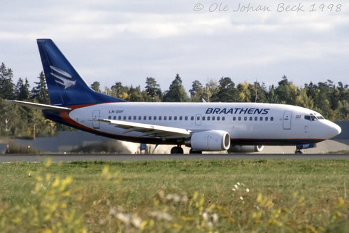 Braathens B737-505 LN-BRF at ENFB/FBU 05-10-1998 | by Ole Johan Beck
