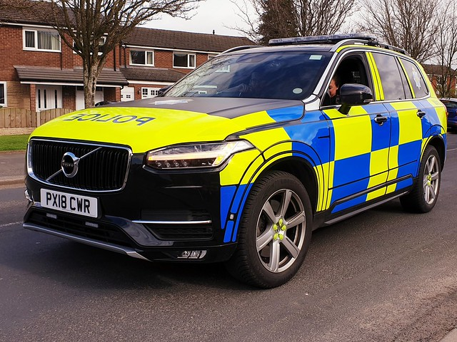 PX18 CWR, MA10, a Cumbria Constabulary, Volvo XC90 T6 AWD Armed Response Unit, patrolling Carlisle.