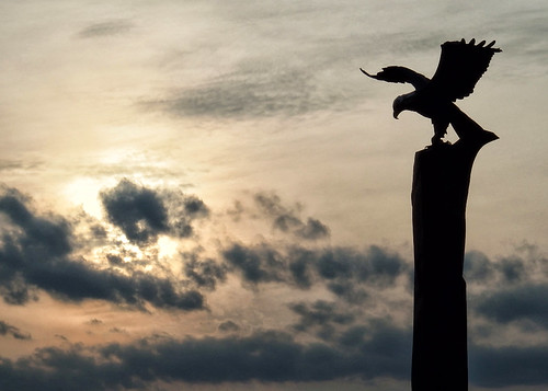 statue sunset twilight dusk sky clouds