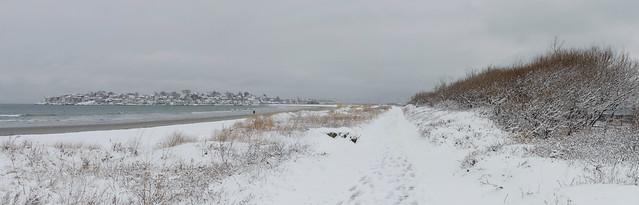 Nahant beach snow pano