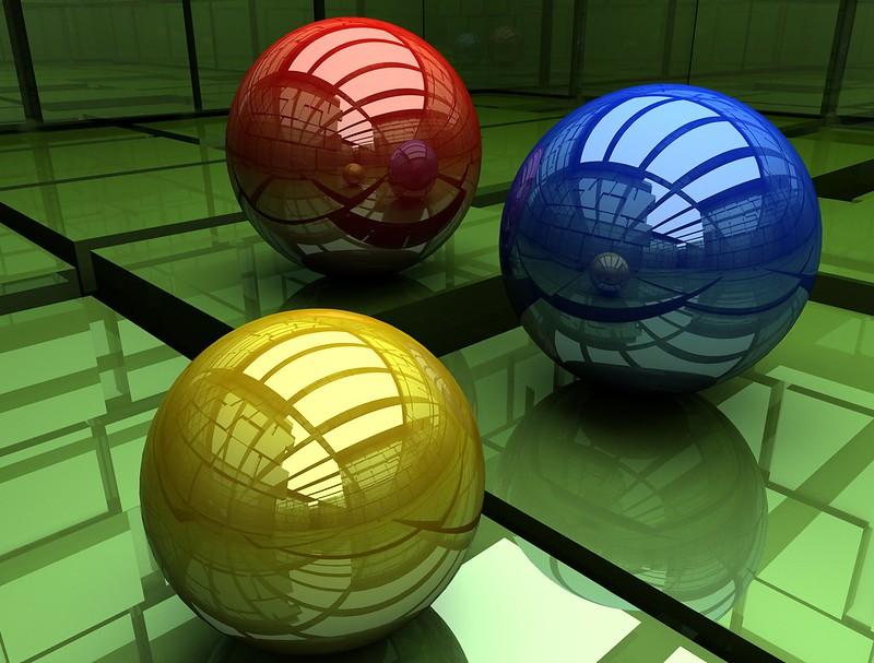 Обои шары, три, разноцветный, поверхность, куб картинки на рабочий стол, фото скачать бесплатно