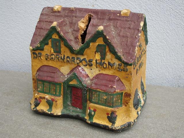 Vintage 1930's Dr Barnardo's Homes Papier Mache Charity Shop Cottage Moneybox