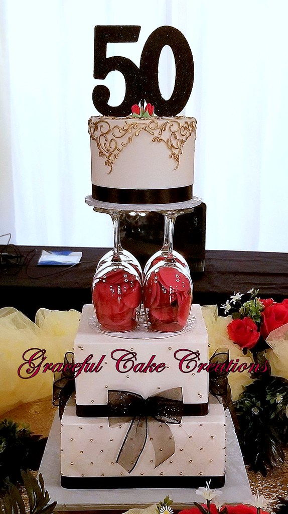 Groovy Elegant 50Th Birthday Cake In Gold Black And Red A Photo On Funny Birthday Cards Online Inifodamsfinfo