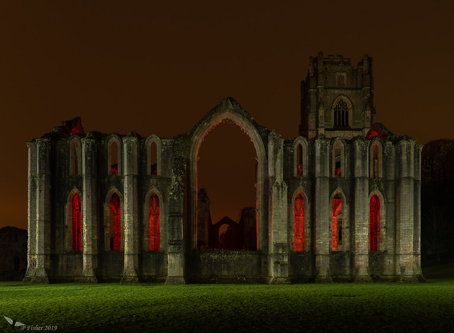 Fountains Abbey in Red