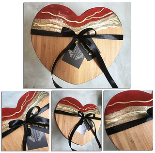 Valentines Day - Gold or Red, Resin Heart Serving Board/Chopping Board