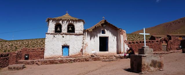 Iglesia de Machuca at 4,010 meters (13,156 ft) above sea level, pueblo de Machuca, San Pedro de Atacama, the Atacama Desert, Antofagasta, Chile.