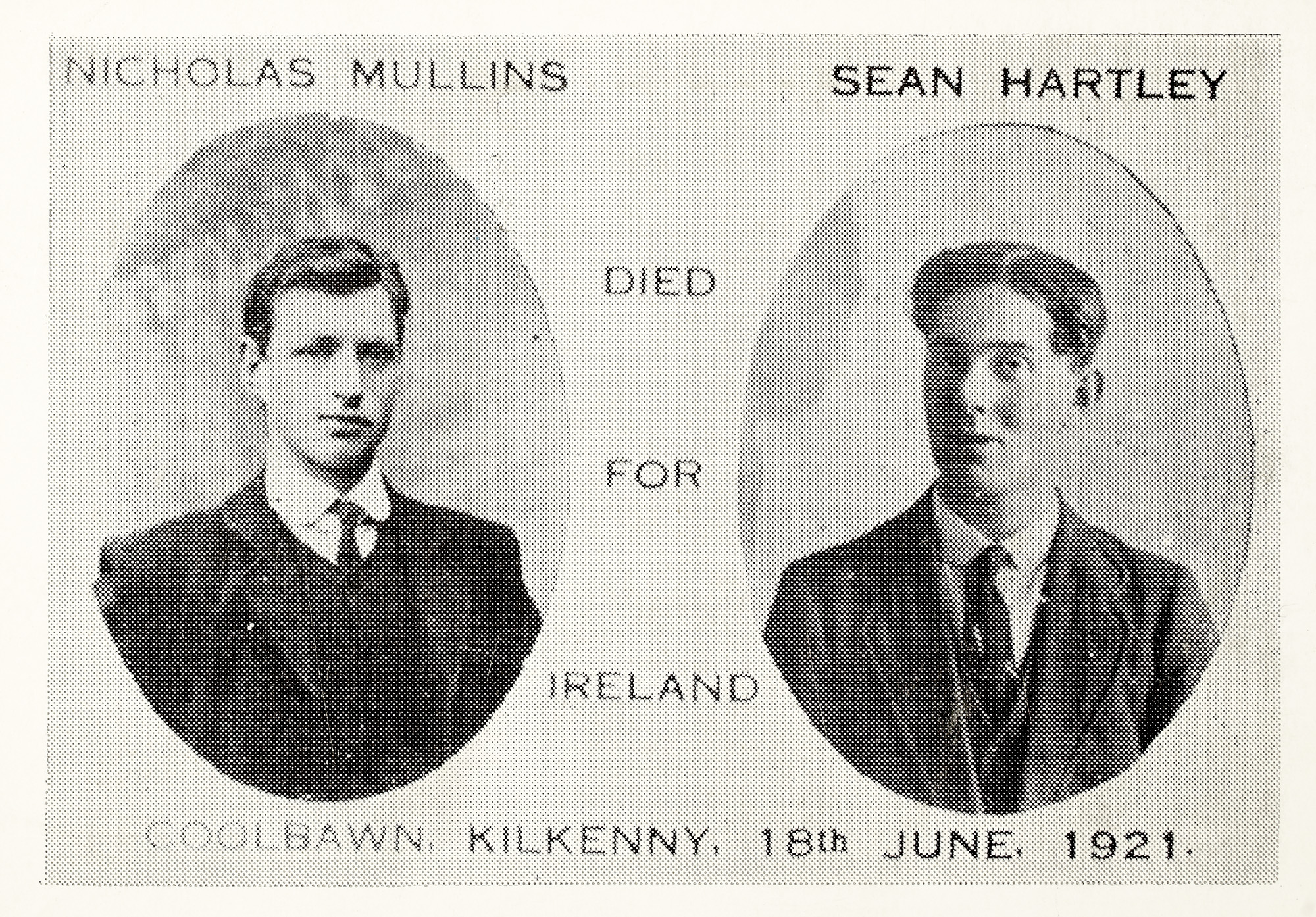 Nicholas Mullins, Sean Hartley, Died for Ireland Coolbawn, Kilkenny, 18th June 1921