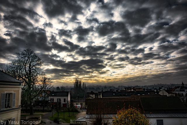 View of the Cloudy Sky and Village of Auvers-sur-Oise, France-22a