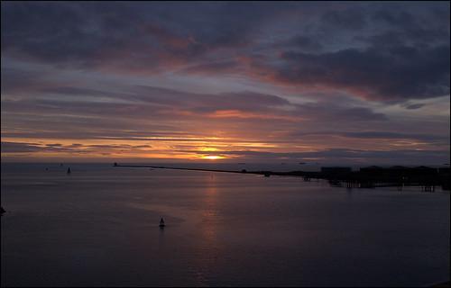 dublin ireland port bay sunrise sun dawn boat sea