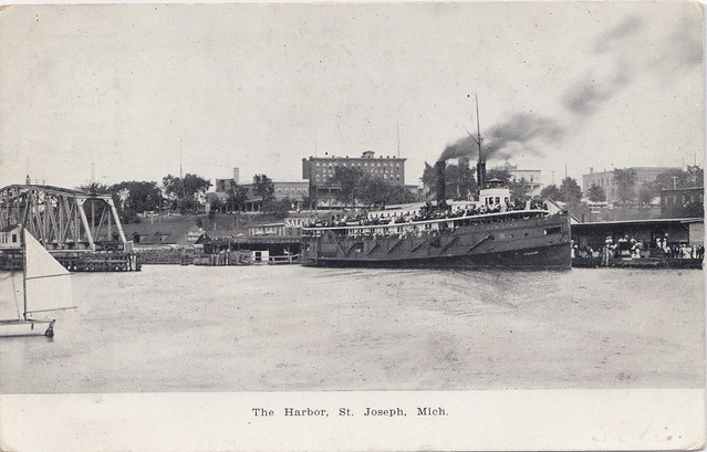 SHIP St. Joseph MI Graham & Morton Transportation Steamer Excursion Ferry 1907 Note the Old RAILROAD BRIDGE & PMRR DEPOT behind the Boat opposite of the Old Silver Beach Amusement Park