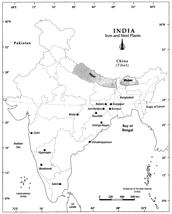 Class 10 Geography Map Work Chapter 6 Manufacturing Industries 2