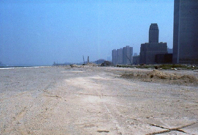 Echoes of Manhattan and the occasional distant barge on the Hudson were pretty much all I heard while walking along the Battery Park City landfill. There wasn't a single person out there. The solitude struck me as surreal. New York. April 1974