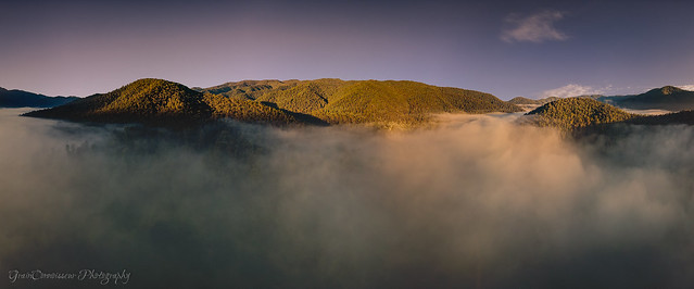 Airial view over Geehi Flats coverd in the mist at sunrise, Snowy Mountains, Australia