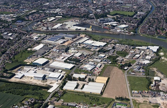 The Found Riverside Industrial Estate in Boston - Lincolnshire UK aerial image