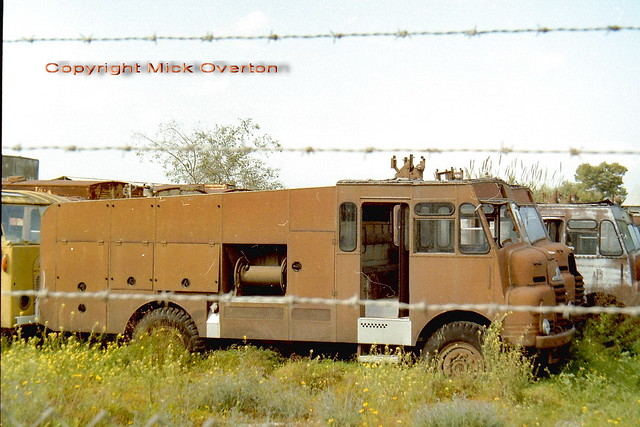 a lot of brown Green Godess Bedford fire trucks rot at Lefkaritis , Cyprus 31.03.1994