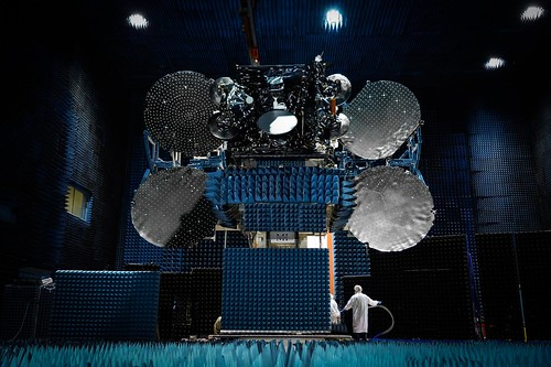 EUTELSAT 7C in the compact antenna test range at Space Systems Loral (SSL) | by Eutelsat_SA