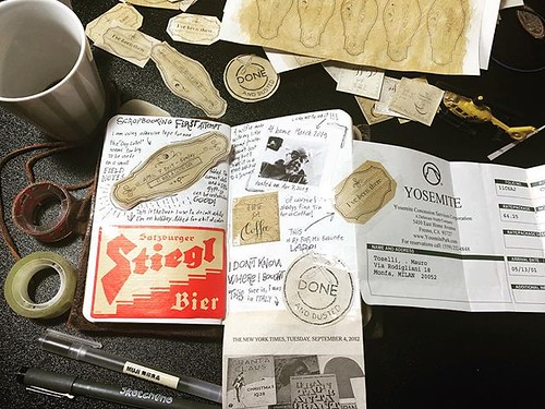 First scrapbooking attempt and test time for the vintage labels