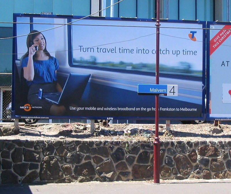 Advertising for Telstra, Malvern station, January 2009