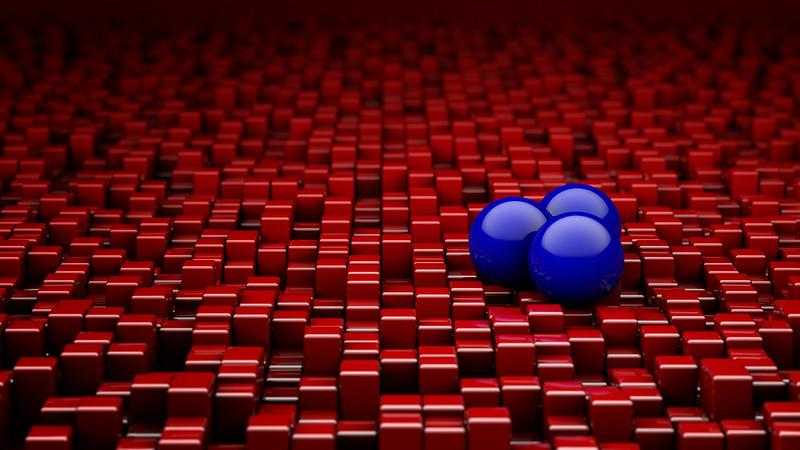 Обои шары, кубы, красный, синий, рендеринг картинки на рабочий стол, фото скачать бесплатно