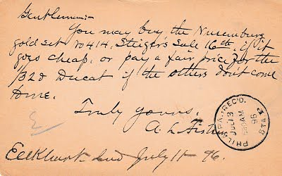A. L. Fisher postcard to Chapmans | by Numismatic Bibliomania Society