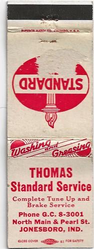 Jonesboro Matchbook-Thomas Standard Service | by Alan C of Marion,IN