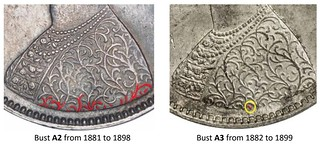 British Indian Half Rupee Bust Variety image11 Bust A2 from 1881 to 1898 Bust A3 from 1882 to 1899 | by Numismatic Bibliomania Society
