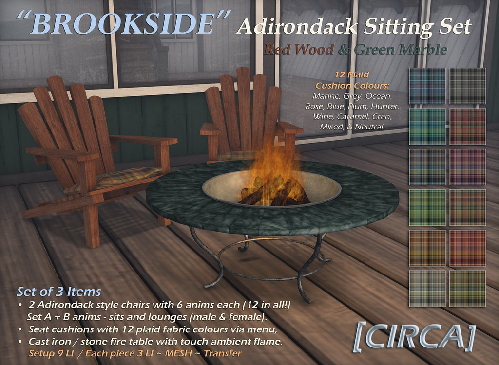"For Syndicate Sunday | [CIRCA] - ""Brookside"" Adirondack Sitting Set - Redwood & Green Marble - TeleportHub.com Live!"