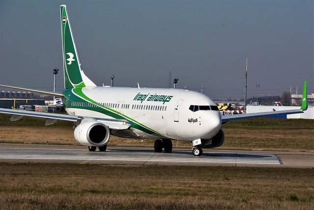 (ORY)Iraqi Airways Boeing 737-800 YI-ASF TakeOff runway 08 to Baghdad