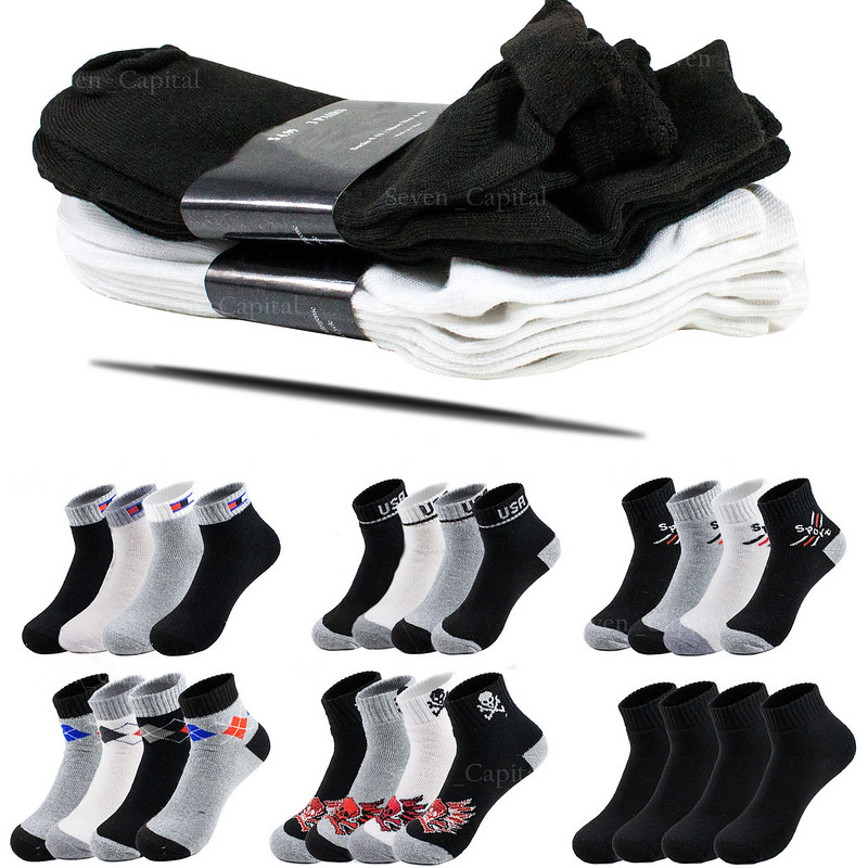 Black or White For Mens and Womens 6 or 12 pairs of Cotton SPORT Athletic Socks